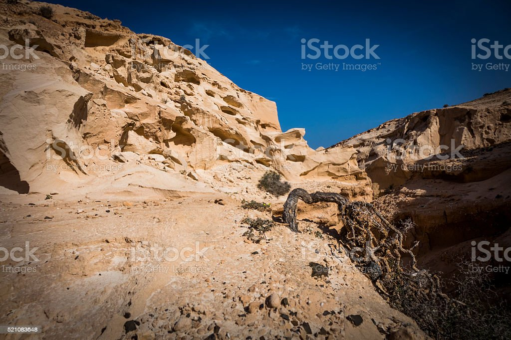 The ravine of the enchanted or lover Fuerteventura canary-island stock photo