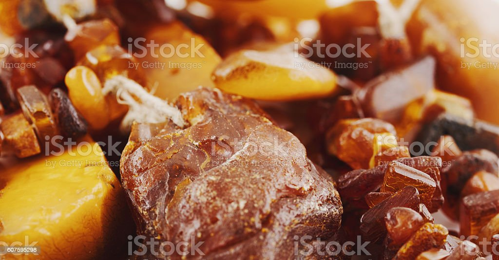 The raw amber from coast of the Baltic sea stock photo