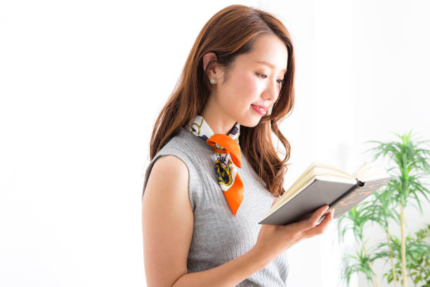The reading woman stock photo