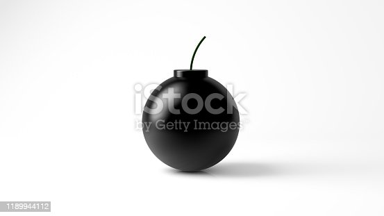 3D Rendering,The Realistic of bomb with shiny reflection, isolated on white background.