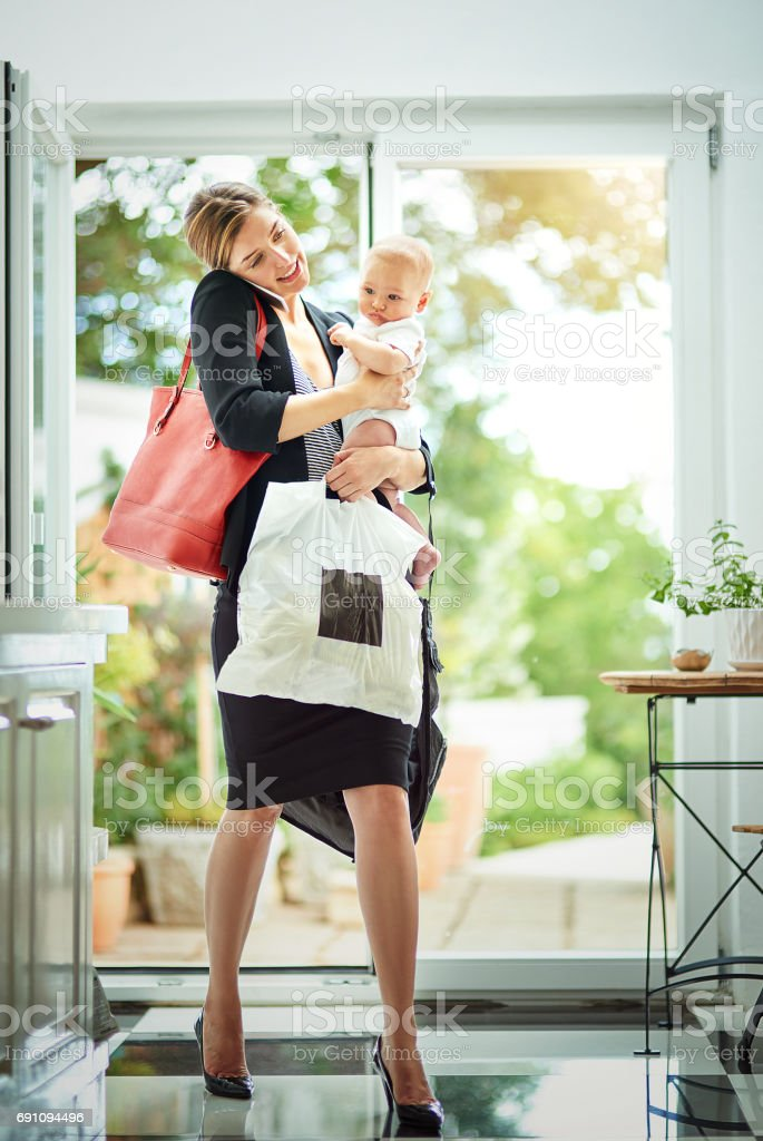 The reality of being a working Mom! stock photo