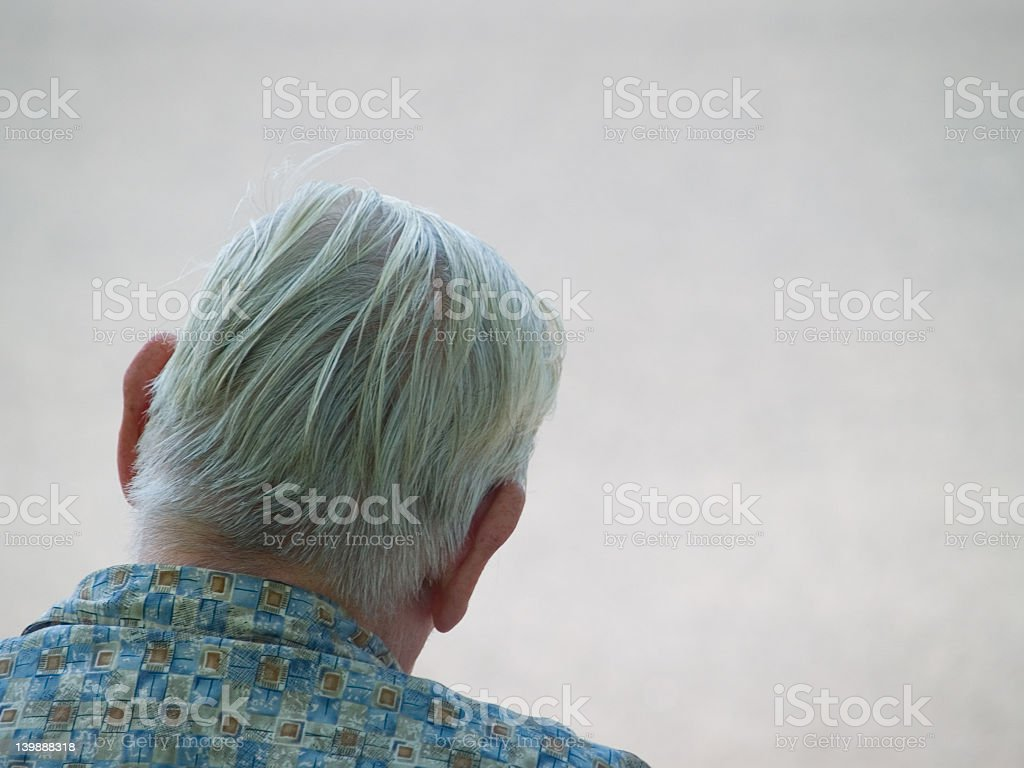 The rear view of a elderly person with gray hair royalty-free stock photo