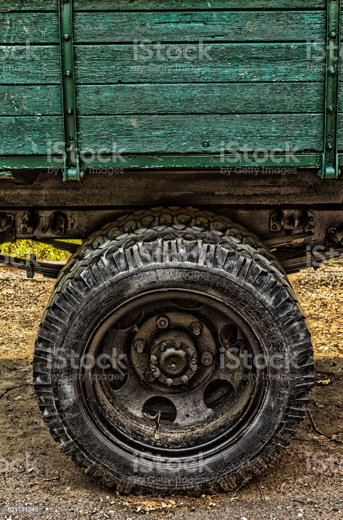 the rear wheel of the truck stock photo