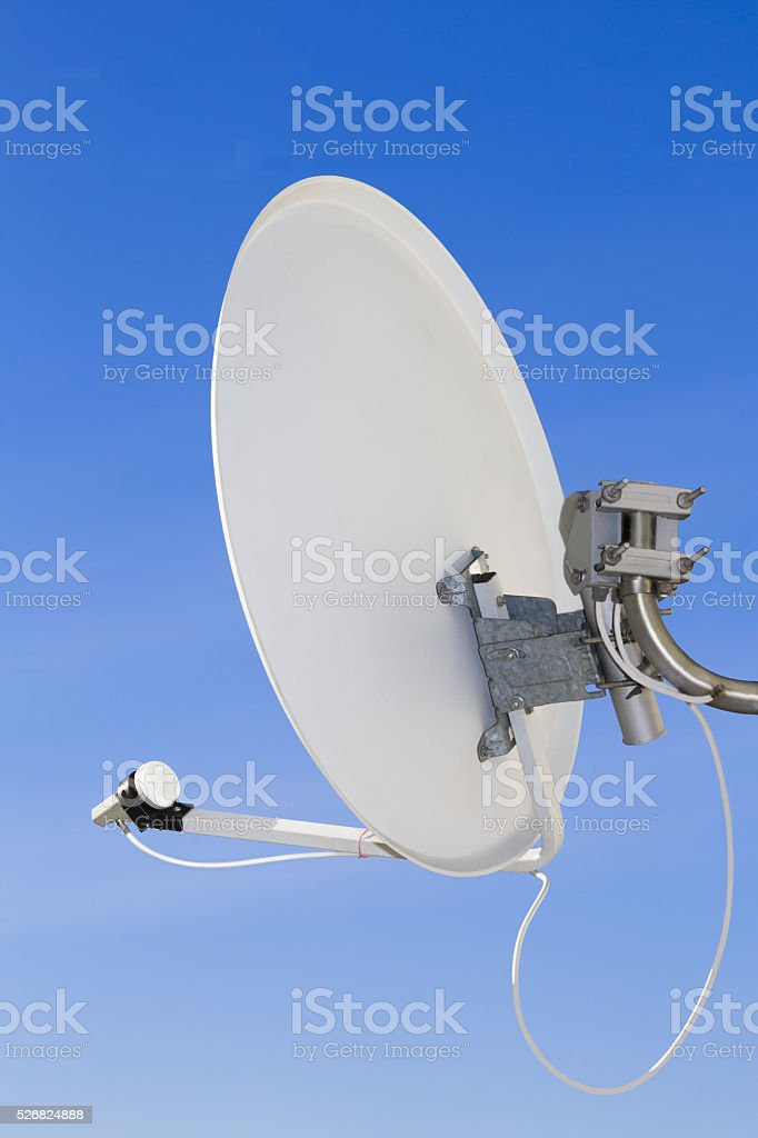The receiving antenna of digital satellite television for subscriber use. stock photo