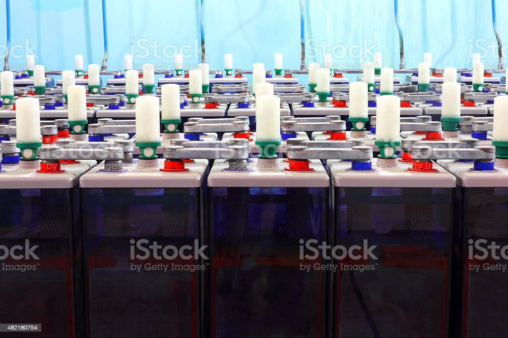 The rechargeable batteries.Electric industry. stock photo