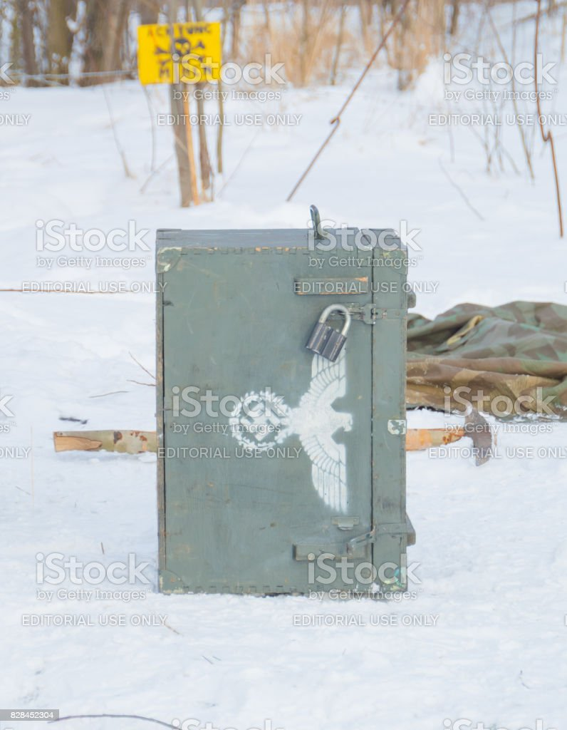 the reconstruction of the weapons box , the eagle, the swastika stock photo