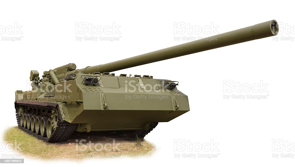 The record powerful artillery in the world of self-propelled stock photo