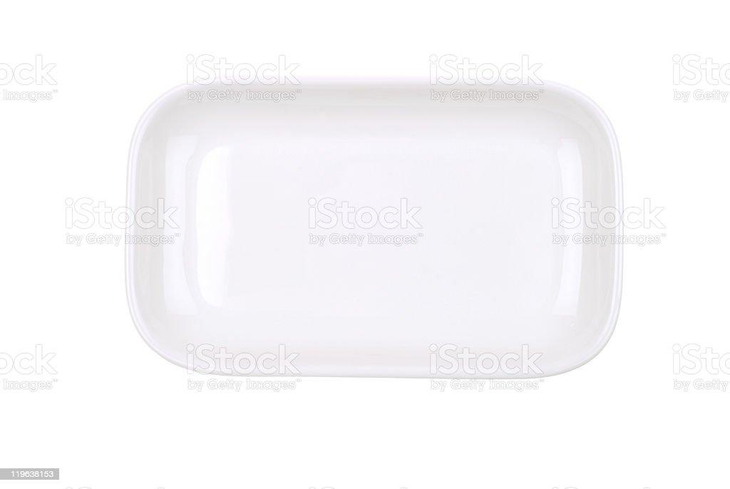 The rectangular dish on white stock photo