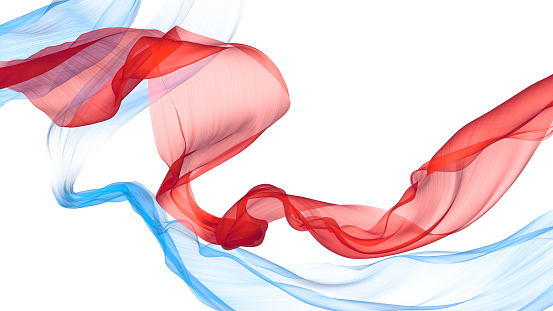 The red and blue fabric fluttering in the wind