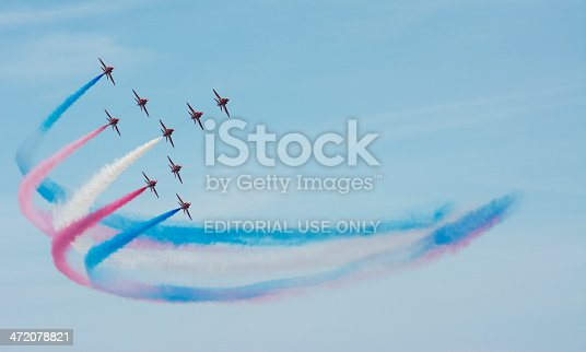 Sunderland, UK - July 27th 2013: The RAF Red Arrows fly in formation at the Sunderland airshow 2013.