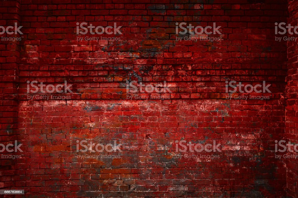 The red brick wall. Free space. Vintage brick surface. Old grunge background. Design art background foto stock royalty-free