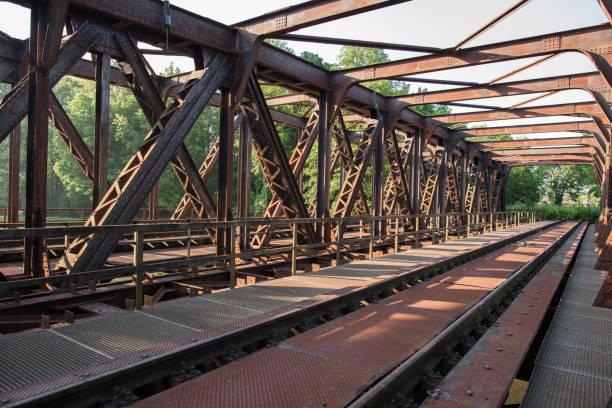 the red bridge old abandoned railway bridge in switzerland. railway bridge stock pictures, royalty-free photos & images