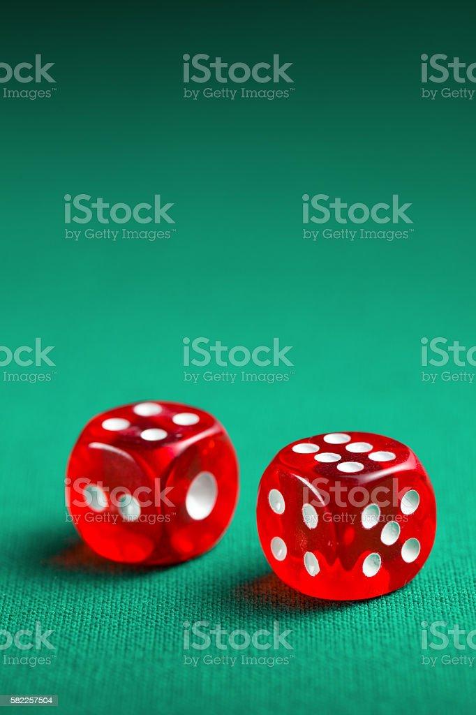 the red casino dice stock photo