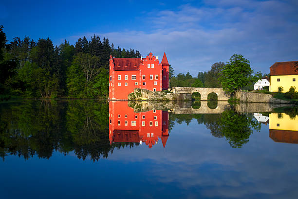 The red chateau Cervena Lhota in the the Czech Republic stock photo