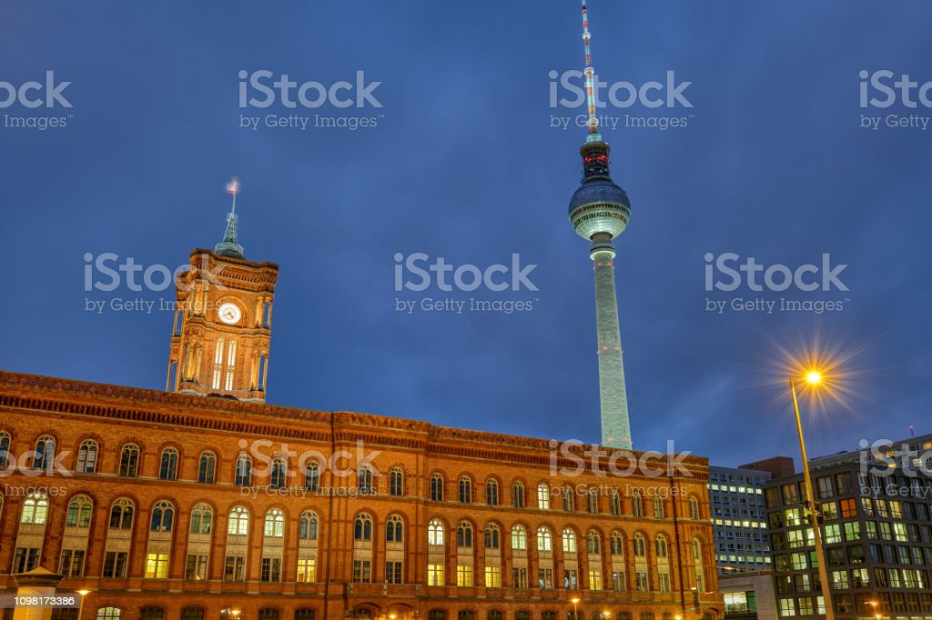 The red city hall and the famous Television Tower stock photo