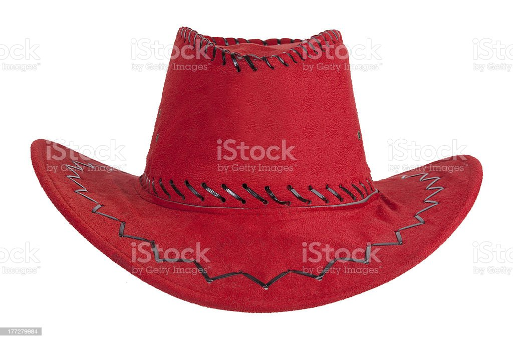 The red cowboy hat with leather trim royalty-free stock photo