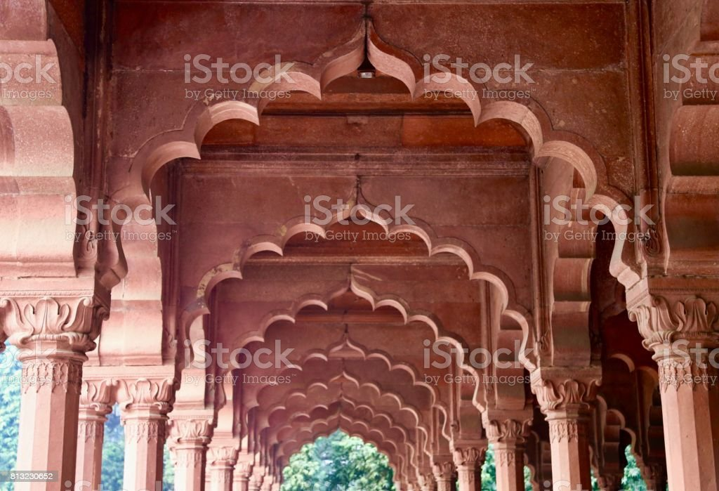 The Red Fort arches stock photo