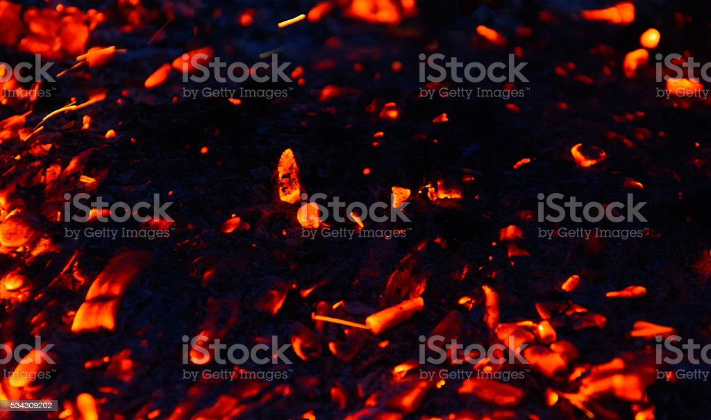 The red glow of coals stock photo