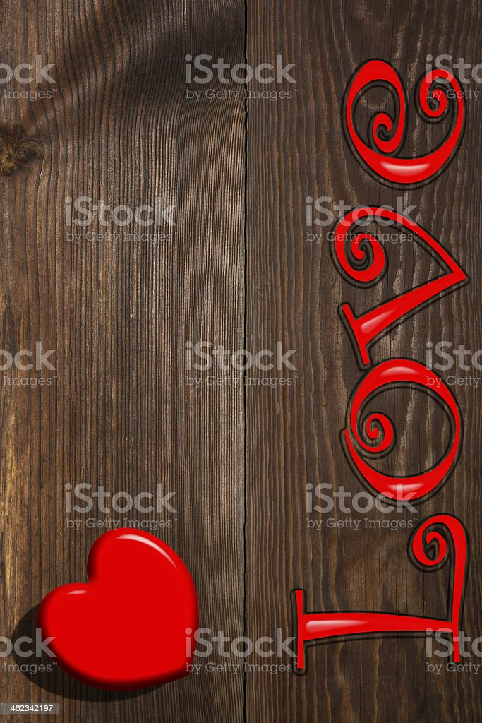The red heart and inscription, a background stock photo