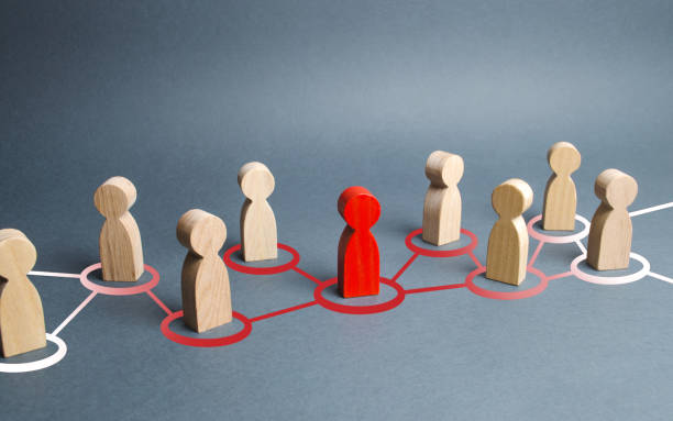 The red human figure extends its influence to the neighboring figures. Spreading ideas and thoughts, recruiting new members. Infection of other people, zero patient. Leader and leadership, new team. The red human figure extends its influence to the neighboring figures. Spreading ideas and thoughts, recruiting new members. Infection of other people, zero patient. Leader and leadership, new team. zero stock pictures, royalty-free photos & images