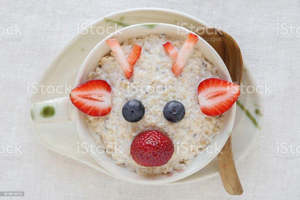 The Red Nosed Reindeer porridge oatmeal breakfast , Fun stock photo