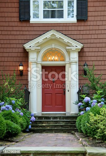 Front door of Colonial home.FOR MORE HOUSES AND DOORS (CLICK