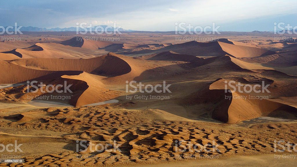 The red sand dunes of Sossusvlei during daytime stock photo