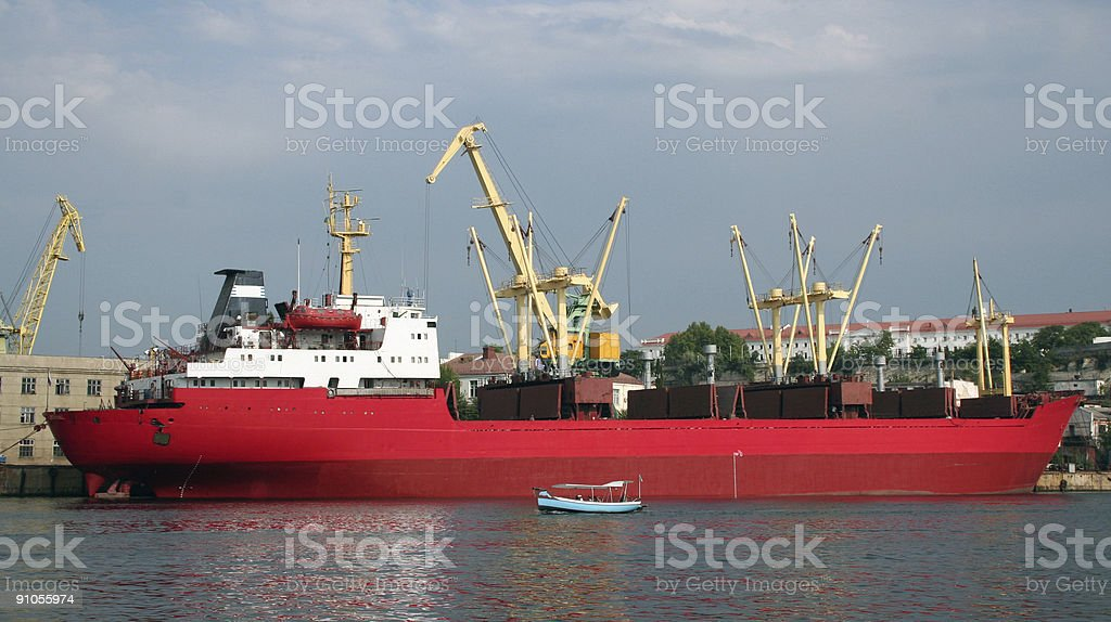 The red tanker in harbour. royalty-free stock photo