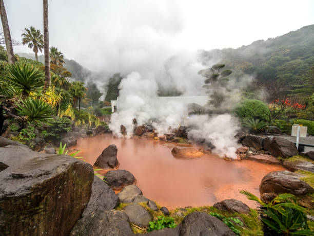 The red thermal pool in Umi Jigoku, the sea hell in Beppu City. stock photo
