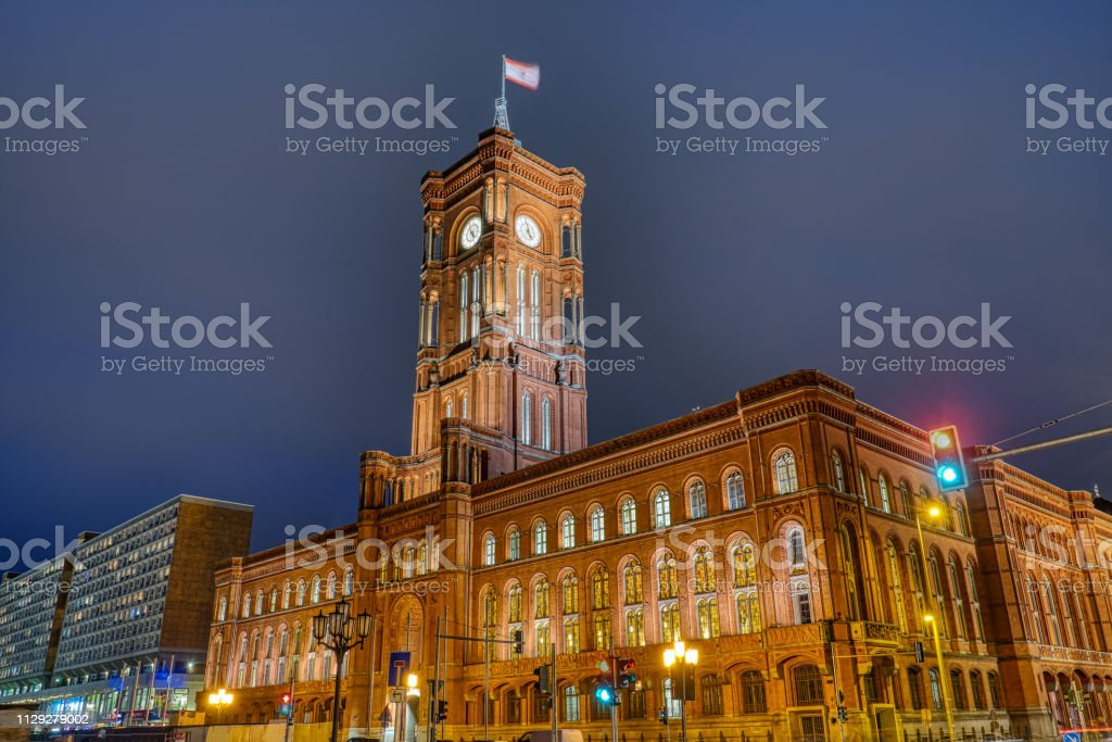 The red town hall of Berlin stock photo