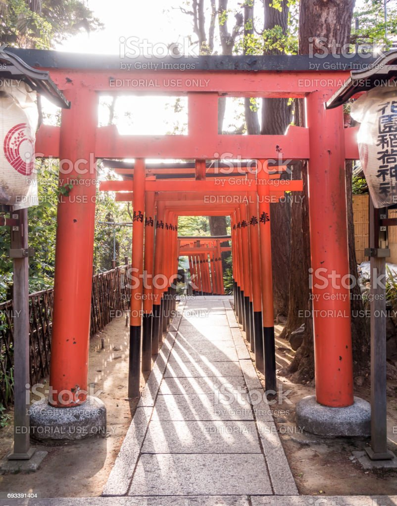 The Red wooden gate passage for Toshogu shrine in Ueno park. stock photo