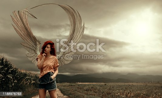 Redhead fantasy angel in the cornfield, posing on a stormy and apocalyptical background, wearing wings