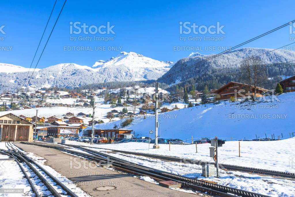 The Reeti is a mountain of the Bernese Alps viewed from Grindelwald Grund railway station at Grindelwald, Switzerland. stock photo
