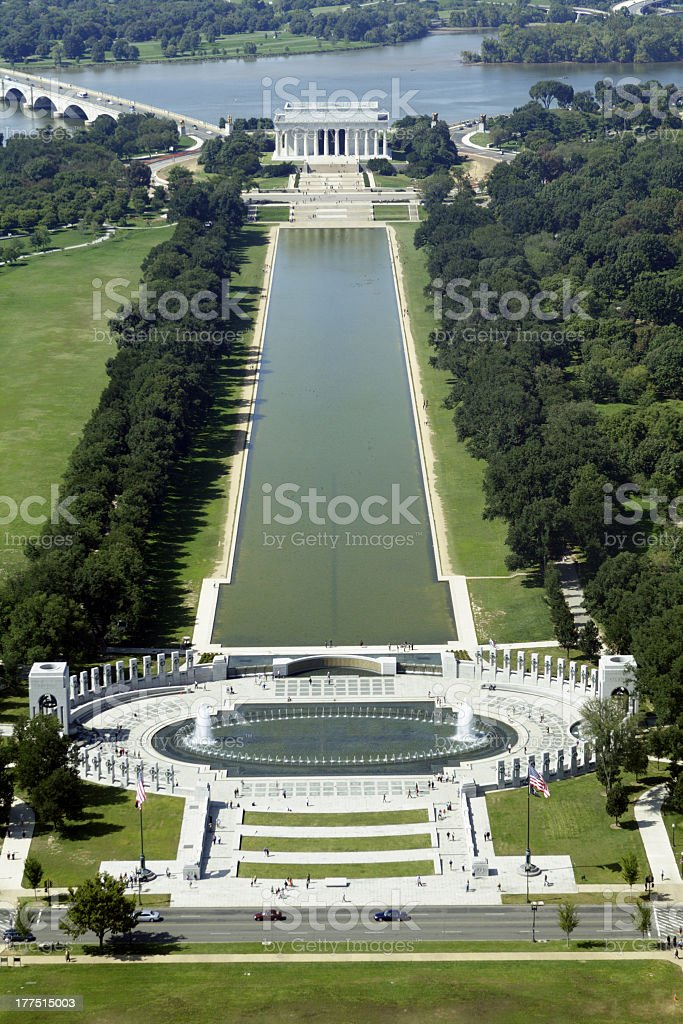 The reflecting pool at the Lincoln Memorial stock photo