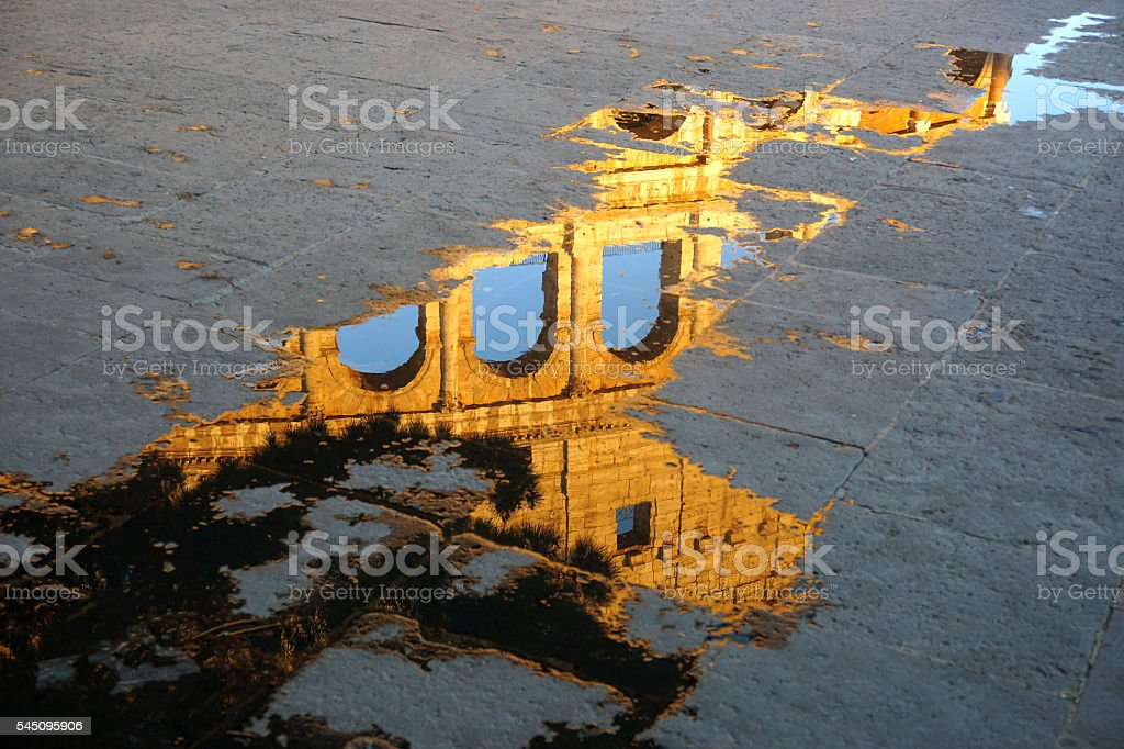 The reflection of Colosseum stock photo
