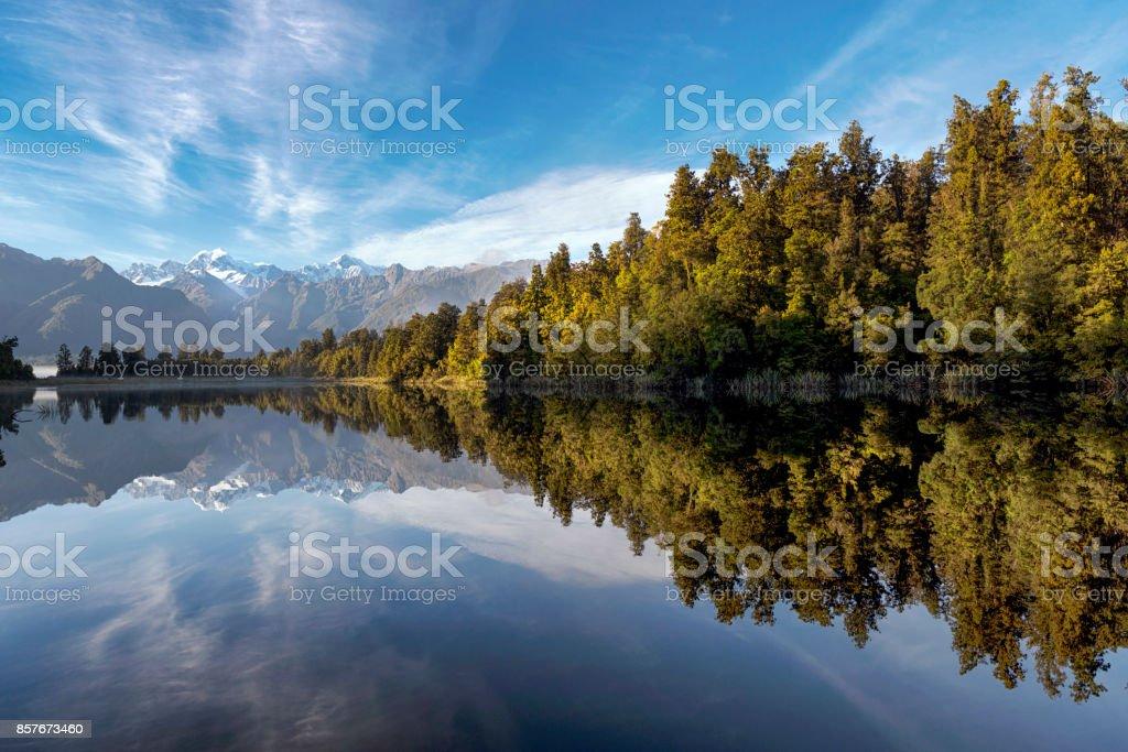 The reflection of Lake Matheson stock photo