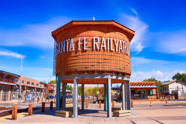 The refurbished water tower in the railyard art district of Santa Fe, New Mexico stock photo