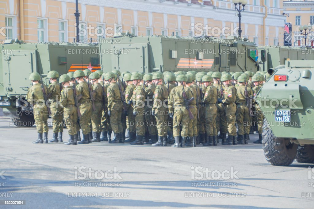 the rehearsal of the victory parade soldiers standing in formation stock photo