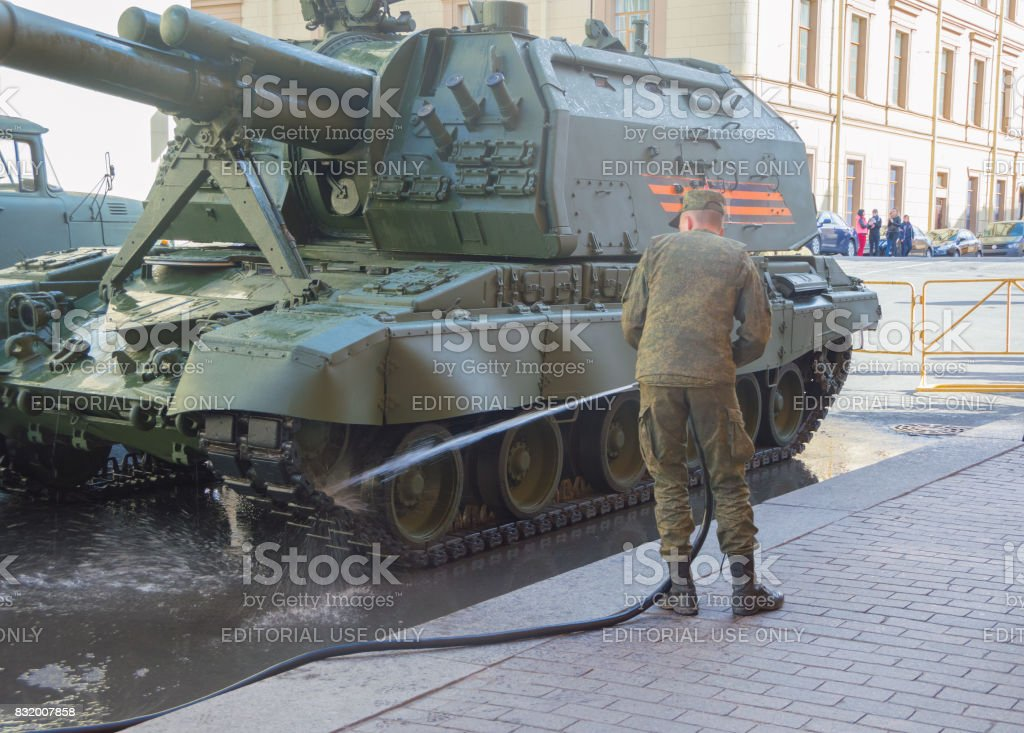 the rehearsal of the victory parade soldiers wash the vehicles stock photo