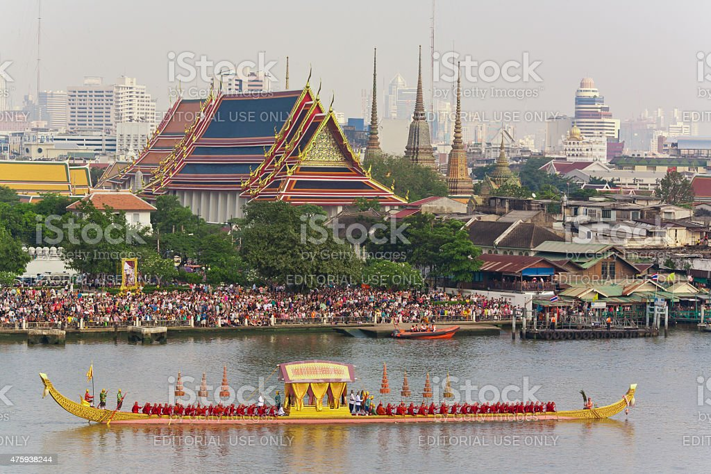 The rehearsals Royal barge procession on the Chao Phraya river. stock photo