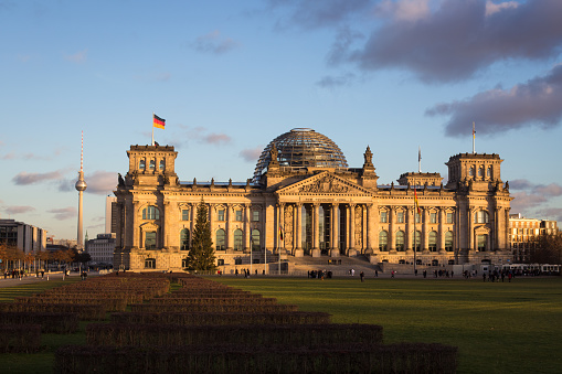 The Reichstag building at sunset