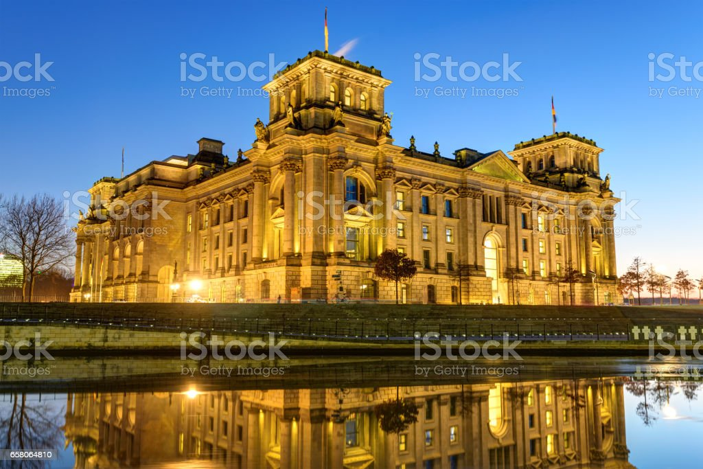 The Reichstag building at the river Spree in Berlin royalty-free stock photo