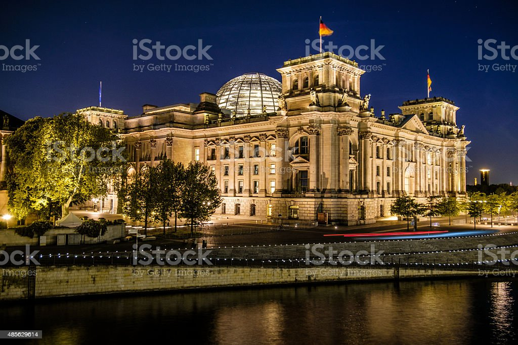 The Reichstag building (Reichstagsgebäude), River Spree at night, Berlin, Germany stock photo