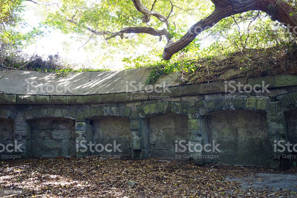 The remains of a gun battery stock photo
