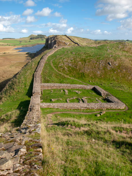 The remains of a Milecastle on Hadrian's Wall stock photo