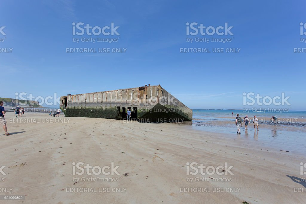 The remains of the Mulberry Harbour stock photo