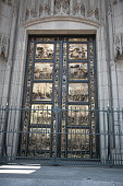The replica Ghiberti doors of Grace Cathedral in San Francisco. They are replicas of famous doors in the Baptistry of Florence Cathedral, Italy