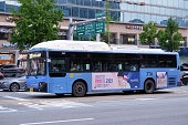 Seoul, Korea-August 28, 2020: A representative blue bus in Seoul running through Seoul City