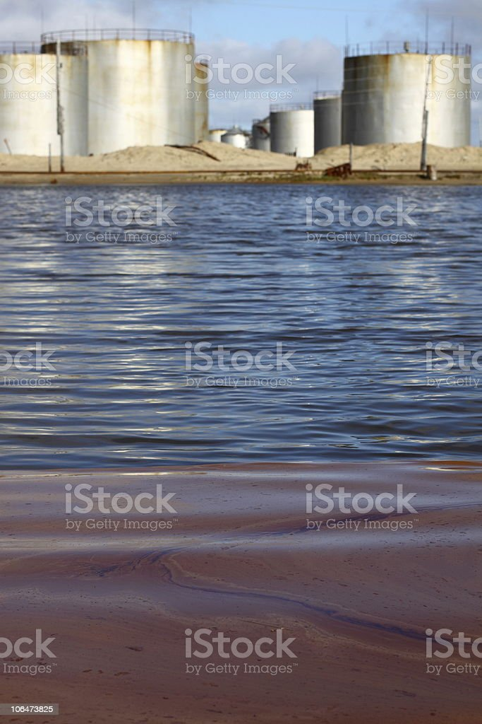 The reservoir polluted by fuel royalty-free stock photo