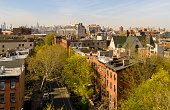 The remote aerial view to the Manhattan from the Brooklyn, over the residential district